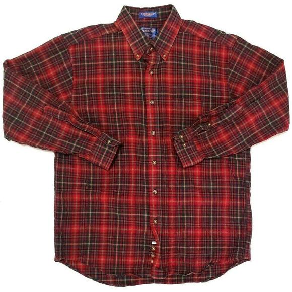 4fd56f9e9 Pendleton Mens Red Wool Plaid Button Down Size L